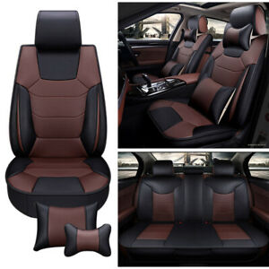 Pu Leather Car Seat Cover Size L Front Rear Full Set Cushion Black W 4 Pillow