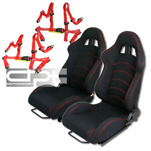 Reclinable Red Stitch Black Cloth Racing Bucket Seats 4 Point Buckle Seat Belts