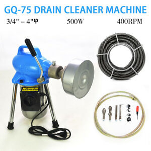 Top 3 4 4 Dia Sectional Electric Pipe Drain Cleaner Machine 99ft Max Length