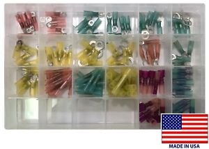 115 Heat Shrink Crimp Electrical Wire Terminal Connector Assortment Kit Usa