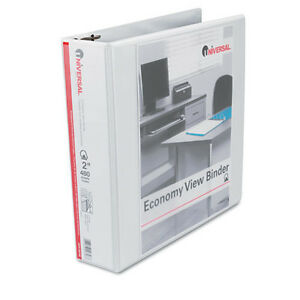8 Pack Universal Economy D ring Vinyl View Binder 2 Capacity White unv20746