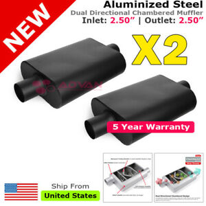 Aluminized Steel Chamber Muffler 2 5 Inches Center In Out Black Pair Universal