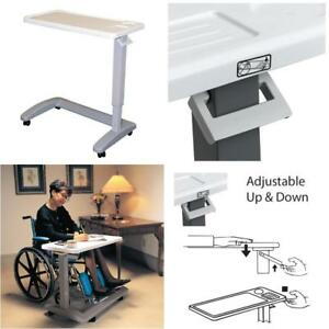 Overbed Table With Wheels Adjustable Height For Medical Eating Working Reading