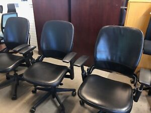 Executive Chair By Steelcase Leap V2 In Black Leather