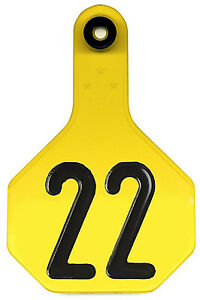 All American Livestock Tag Numbered Medium Yellow 25 pk