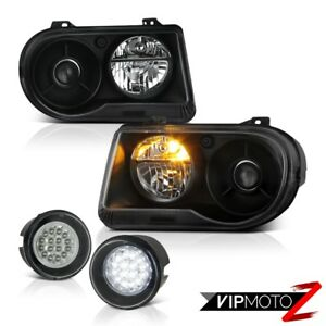 2005 2010 Chrysler 300c Srt8 Pair Black Headlamps Smd Driving Bumper Foglights