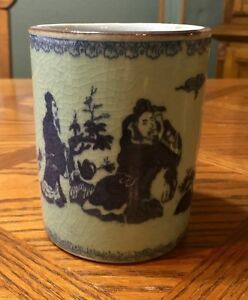 Chinese Green Glaze Porcelain Brush Pot Container