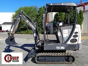 2012 Terex Tc16 Mini Excavator Auxiliary Hydraulics 2 Speed Rubber Tracks