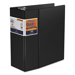 Stride Quickfit D ring Binder 5 Capacity 8 1 2 X 11 Black 29071