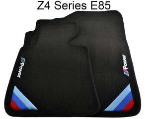 Bmw Z Series E85 E86 Black Floor Mats With m Power Emblem With Clips New