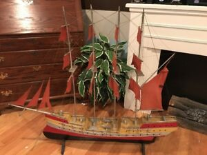 Vintage Model Pirate Ship Wooden Model Tall Ship Sail Boat Fully Assembled