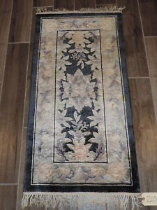 Vintage Chinese Art Silk Handknotted Rug 2x4ft