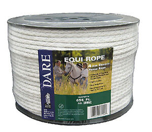 Dare 3095 Electric Fence Rope Wht Polyethylene Stainlesssteel Wire 5 64 x656