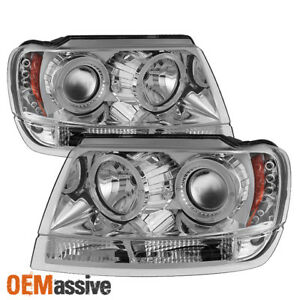 Fits 99 04 Jeep Grand Cherokee Clear Dual Halo Projector Led Headlights Lamp Set