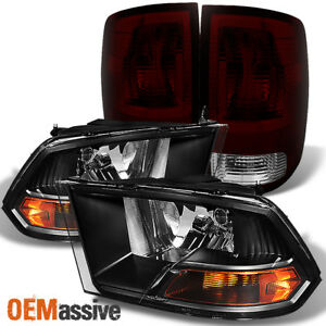 Fit 09 18 Dodge Ram 1500 10 18 2500 3500 Black Headlights red Smoked Tail Light