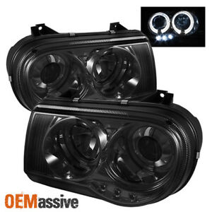Fits Smoked 05 10 Chrysler 300c Halo Projector Led Headlights Lights Left Right