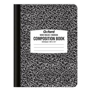 Oxf096120 Oxford Composition Book 9 3 4 X 7 1 2 Wide Rule Black 102 Sheets