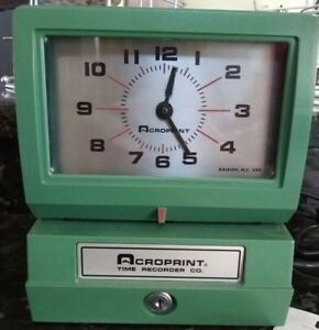 Preown acroprint 150nr4 time Stamp Machine w Keys Info New Ribbon great Item