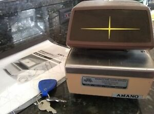 Vintage amano 4746 time Record stamp Machine keys info new Ribbon works Great