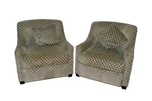Pair Of Baker Upholstered Club Lounge Arm Chairs