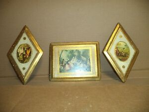 Vtg Lot Of 3 Wall Picture Painted Wood Frames Made In Italy