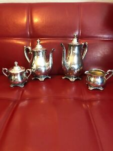 Wm Rogers And Sons Victorian Tose Silver Plated Coffee Tea Set