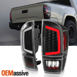 Fits 2016 2020 Toyota Tacoma Pickup Black Full Led Tube Tail Lights Set