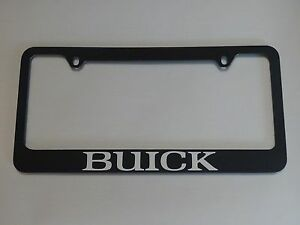 Buick License Plate Frame Glossy Black Metal Brushed Aluminum Text