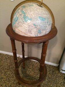 Vintage Cram S Imperial 11 World Globe On Wooden Floor Stand 38 Tall