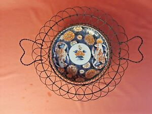 Unusual Antique Hand Painted Wire Handled And Footed Imari Plate