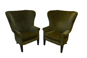 Ralph Lauren Pair Of Upholstered Lounge Chairs