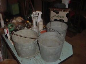 3 Vintage Galvanized Pails Bucket 70s 80s Garden Decor 2 Gal Lot B Photo Prop