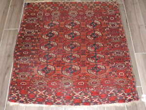 3ft Square Antique Tekke Turkoman Wool Rug
