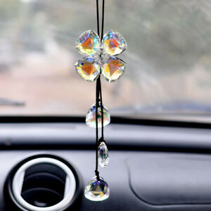 Crystal Clover Car Mirror Pendant Interior Jewelry Decor Hanging Ornament