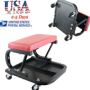 Usa Garage Stool Auto Workshop Creeper Seat Car Repair Roller Cart W Tool Tray