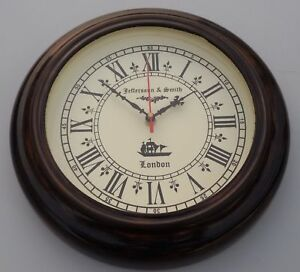 Vintage Wall Clock Wooden Jefferson Smith London Ship S Working 10 Home Decor