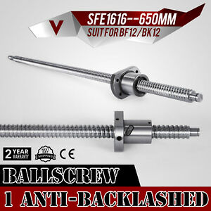 Anti Backlash Ballscrew Sfe1616 650mm Bkbf12 Cnc Set Accurate Ball Nut Updated