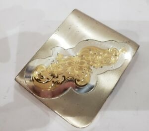 Vintage Elgin American Solid Sterling Silver Gold Mirrored Ladies Compact