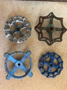Lot Of 4 Large Water Faucet Valve Handles Vintage Industrial Steampunk B3