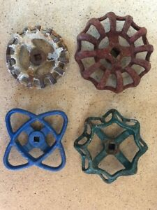 Lot Of 4 Large Water Faucet Valve Handles Vintage Industrial Steampunk B7