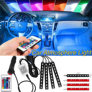4x Accessories Glow Led Interior Car Kit Under Dash Floor Seats Accent Light