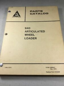 Allis Chalmers 940 Articulated Wheel Loader Parts Catalog