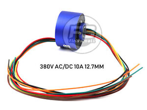 New 6wires 380v Ac dc 10a 12 7mm Dia Metal Capsule Conductors Slip Ring Blue
