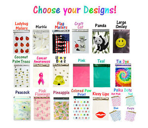 10x13 Poly Mailers Designer Fun Self Adhesive Shipping Bags 50 100 200 Assorted