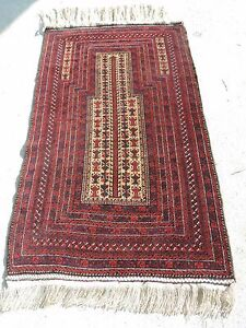 3x6ft Beautiful Vintage Afghan Balouch Camel Hair Prayer Rug