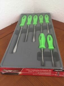Snap on Green 7 piece Combination Screwdriver Set Sddx70ag