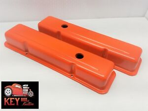 Small Block Chevy Orange Steel Valve Covers Short Sbc 350 400 327 307 305 283