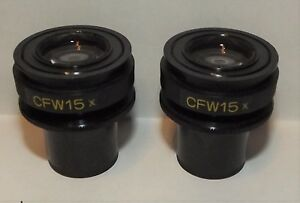 A Pair Of Nikon Microscope Cfw 15x Eyepieces For Laboophot Optiphot Alphaphot