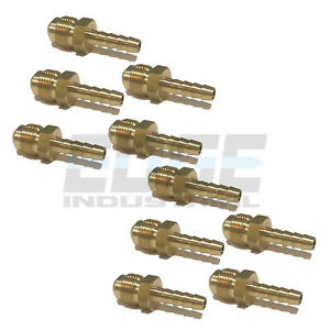 10 Pack 1 4 Hose Id To 3 8 45 Male Flare Straight Brass Fitting Fuel air wog