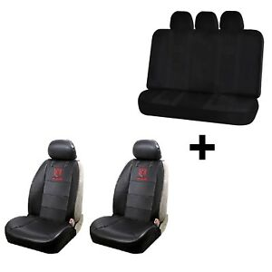 2 Dodge Ram Synthetic Leather Sideless Seat Covers Free Universal Black Bench